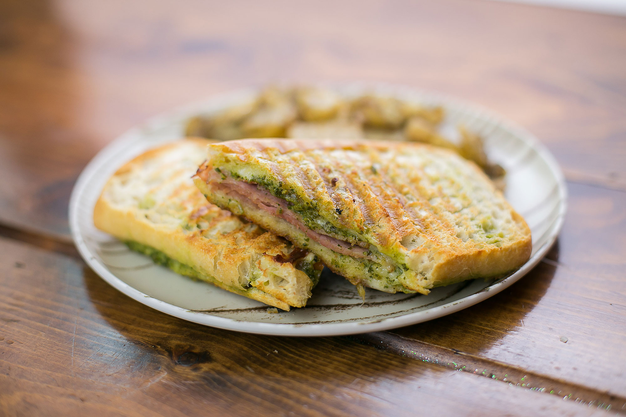 ham, cheese, pesto, sauce